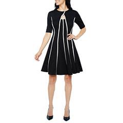 Danny & Nicole Elbow Sleeve Stripe Fit & Flare Dress