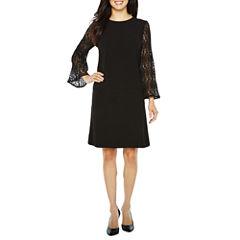 Studio 1 Long Sleeve Lace Shift Dress