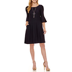 Byer California Long Sleeve Sheath Dress-Petites