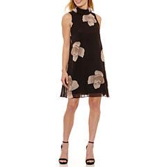Perceptions Sleeveless Floral Shift Dress-Petites