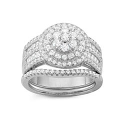 Diamonart Womens 1 1/5 CT. T.W. Lab Created Round White Cubic Zirconia Sterling Silver Band