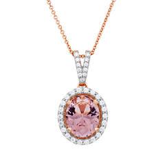 Womens Pink Morganite Pendant Necklace