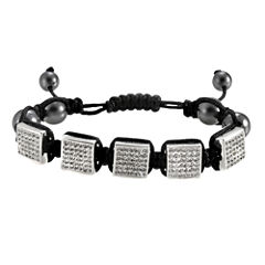 Men's Stainless Steel Crystal & Bead Bracelet