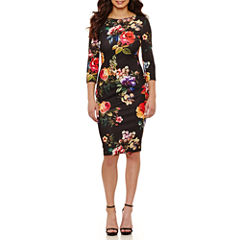 Bisou Bisou Elbow Sleeve Floral Sheath Dress