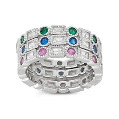 Diamonart Womens 4 CT. T.W. Lab Created Round Blue Cubic Zirconia Sterling Silver Band