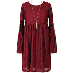 Speechless Long Sleeve Bell Sleeve Peasant Dress - Big Kid Girls