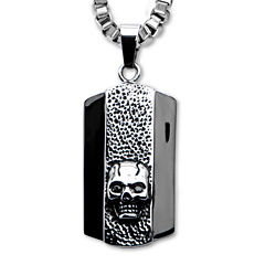 Inox® Jewelry Mens Stainless Steel Skull Dog Tag Pendant Necklace