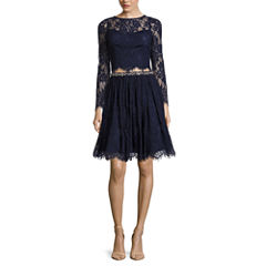 Love Reigns 2-pc. Long-Sleeve Lace Top and Skirt Set - Juniors