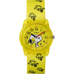 Timex Time Machines Peanuts Peanuts Unisex Yellow Strap Watch-Tw2r41500xy