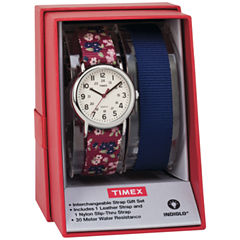 Timex Weekender 31 Box Set Womens Red 2-pc. Watch Boxed Set-Twg015500jt