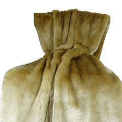 Plutus Tissavel Taupe Faux Fur Handmade Throw Blanket