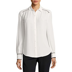 Worthington Long Sleeve Button Front Blouse