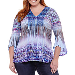 Unity World Wear 3/4 Bell Sleeve Abstract Knit Blouse - Plus