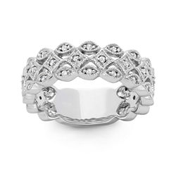 Womens 1/5 CT. T.W. Genuine White Diamond 10K Gold Band