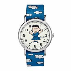 Timex Weekender Peanuts Peanuts Unisex Blue Strap Watch-Tw2r41300jt