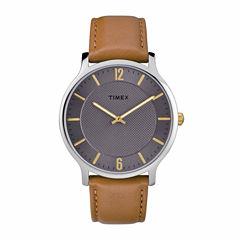 Timex Metropolitan Skyline Mens Brown Strap Watch-Tw2r49700jt