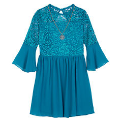by&by Elbow Sleeve Bell Sleeve Party Dress - Big Kid Girls