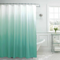 Ombre Waffle Weave Shower Curtain With 12 Color-Coordinating Metal Rings