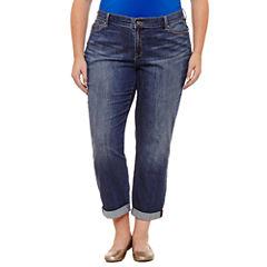 Liz Claiborne Boyfriend Skinny Fit Rollcuff Jean- Plus