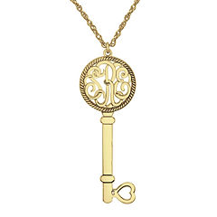 Personalized 14K Yellow Gold Over Silver 25mm Monogram Key Pendant Necklace