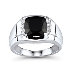 Mens Genuine Onyx and Diamond-Accent Sterling Silver Comfort Fit Ring