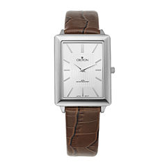 Croton Mens Silver-Tone Bezel Croc-Look Brown Leather Strap Rectangular Watch