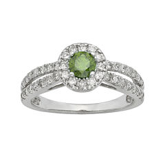 1 CT. T.W. Certified White and Color-Enhanced Green Diamond Ring