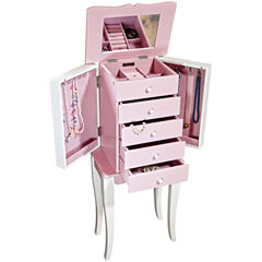 Mele & Co. Louisa Girls Pink & White Wooden Jewelry Armoire