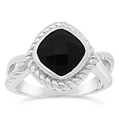 Womens Genuine Black Onyx Sterling Silver Cocktail Ring