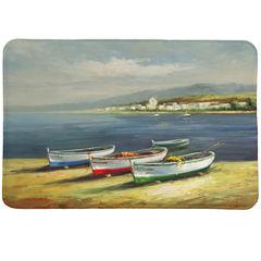 Laural Home Boats On The Beach Memory Foam Bath Rug