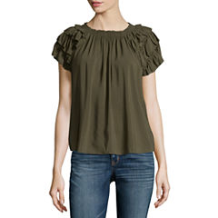 a.n.a Short Sleeve Crew Neck Woven Blouse