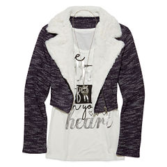 Beautees Long-Sleeve Moto Jacket, Graphic Tank Top and Necklace - Girls 7-16
