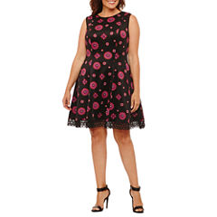 Dr Collection Sleeveless Floral Fit & Flare Dress-Plus
