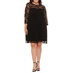 Luxology 3/4 Sleeve Lace Sheath Dress-Plus