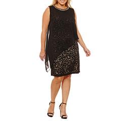Scarlett Sleeveless Beaded Pattern Sheath Dress-Plus