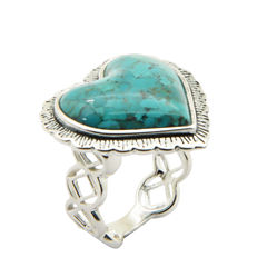 Silver Elements By Barse Womens Lab Created Blue Turquoise Sterling Silver Cocktail Ring