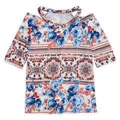 Insta Girl Printed Cold Shoulder Fashion Top - Girls' 7-16