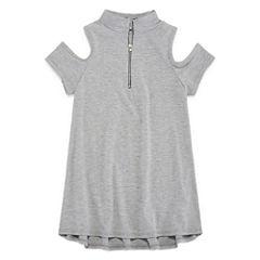 Insta Girl Mock Neck Cold Shoulder Sleeve with Zipper Detail - Girls' 7-16
