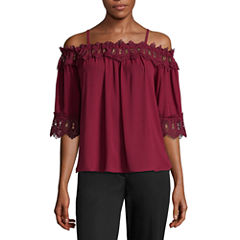 by&by Long Sleeve Boat Neck Crepe Blouse-Juniors