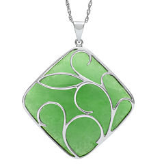 Cushion-Cut Dyed Green Jade Sterling Silver Filigree Pendant Necklace
