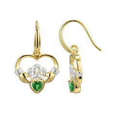 Heart-Shaped Genuine Emerald and Diamond-Accent Claddagh Earrings