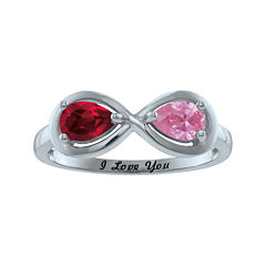 Personalized Infinity Symbol Birthstone Ring