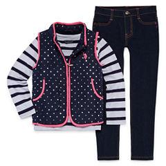 Us Polo Assn. 3-pc. Stripe Pant Set Girls