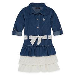 Us Polo Assn. Belted Long Sleeve Roll Tab Sleeve Skater Dress - Toddler Girls