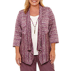 Alfred Dunner Palm Desert 3/4 Sleeve Layered Top- Plus