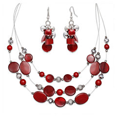 Mixit™ Red Bead Cluster Earring and 3-Row Illusion Necklace Set