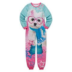Long-Sleeve Aqua Dog Blanket Sleeper - Girls