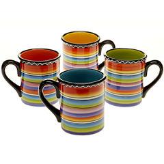 Certified International Tequila Sunrise Set of 4 Mugs
