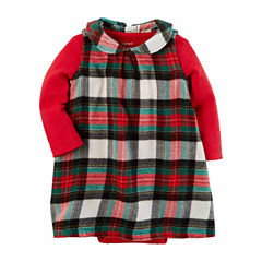 Carter's Long Sleeve Plaid A-Line Dress - Baby Girls