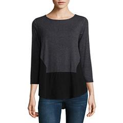 Liz Claiborne 3/4 Sleeve V Neck T-Shirt-Womens